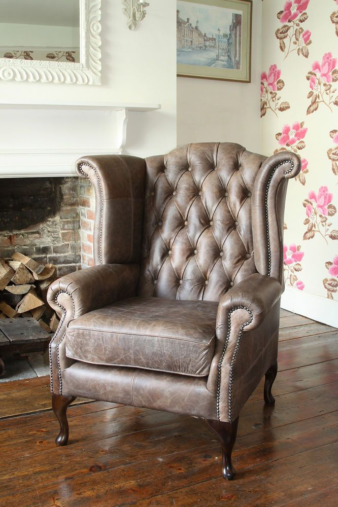 Chesterfield Queen Anne High Back Wing Chair in Vintage Brown Leather