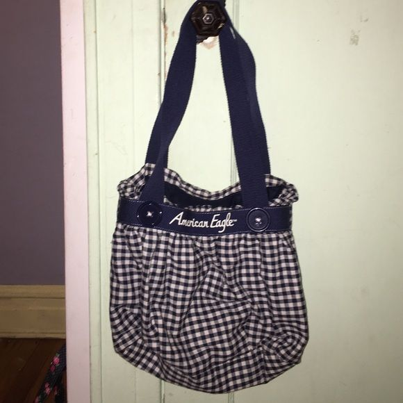 American Eagle Outfitters: Picnic Plaid Tote Colours: Navy & White American Eagle Outfitters Bags Totes