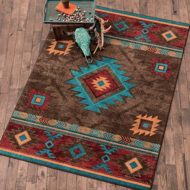 Whiskey River Turquoise Rug   8 X 11