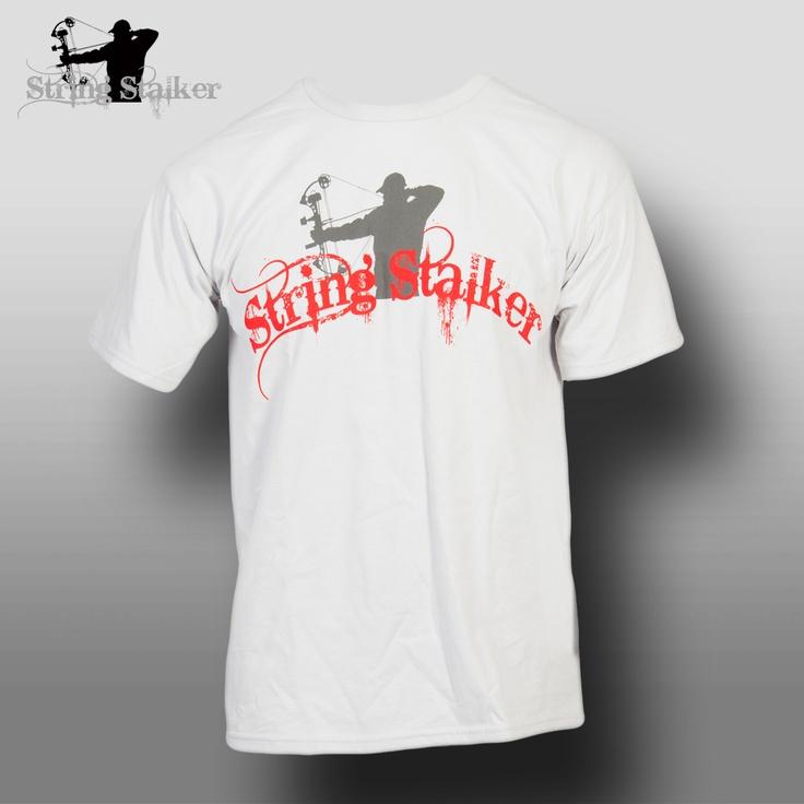 String stalker gray red logo bow hunting t shirt for Fishing logo t shirts