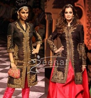 achkan with pants and with dress    on women - Dia Mirza in Designer Long Shirt Lehenga