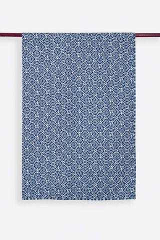 Amreen Indigo Cotton Handprinted Reversible Kantha Stitch Duvet Cover
