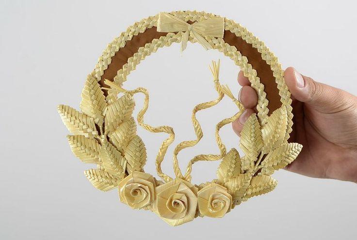 """Wanddeko - Rundes Wandbild aus Stroh """"Rosen"""" - ein Designerstück von EthnischeGeschenke bei DaWanda"""