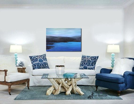 Black Blue Coastal Wall Art Canvas For Office Lake House Etsy Living Room Colors Living Decor Minimalist Living Room