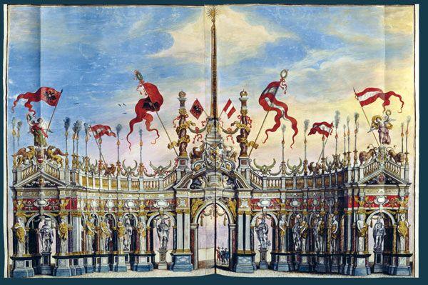 Jean Gaspard Gevaerts, (1593-1666) Pompa introitus honori Serenissimi Principis Ferdinandi Austriaci hispaniarum Infantis S. R. E. Card. Belgarum et Burgundionum. A caballo o en carroza pasaban ante los arcos triunfales que unían arquitectura, pintura y escultura. En ellos se pudieron ensayar lenguajes nuevos que más tarde pasarían a las arquitecturas perpetuas. Los mensajes políticos o religiosos eran consustanciales a estas estructuras.