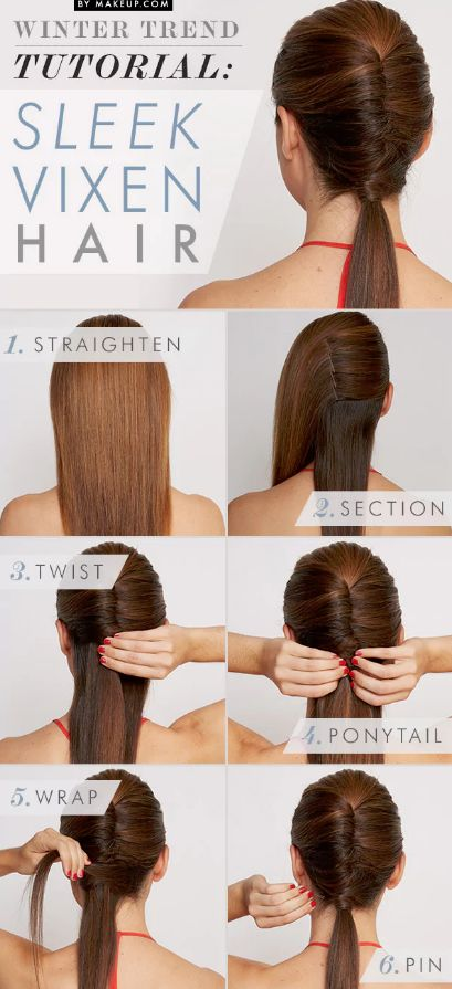 This elegant style puts a fun pony twist on the traditional French Twist! Try it with long to medium hair.