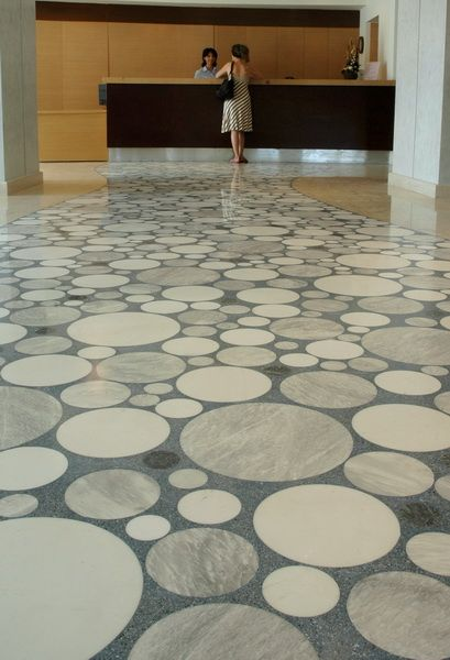 Floor special application with marbles in waterjet