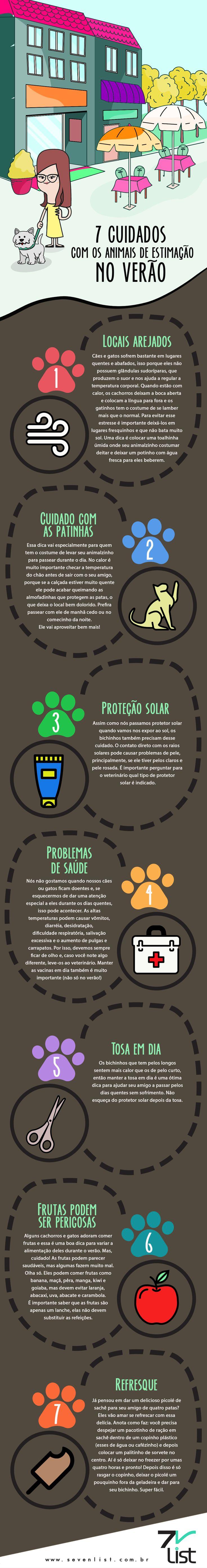 Esse post é especial para eles, os nossos melhores amiguinhos do mundo. Veja 7 cuidados com os animais de estimação no verão. #SevenList #Dicas #Art #Infografico #Pets #Dog #Cat #Animais #Animaisdeestimação #chochorro #Gato #Love