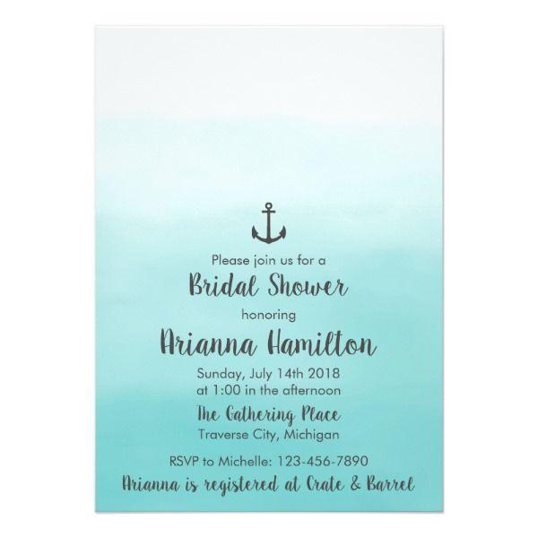 Ombre Beach Destination Ocean Anchor Bridal Shower Card Customizable Invitations #beach #summer #wedding #invitation