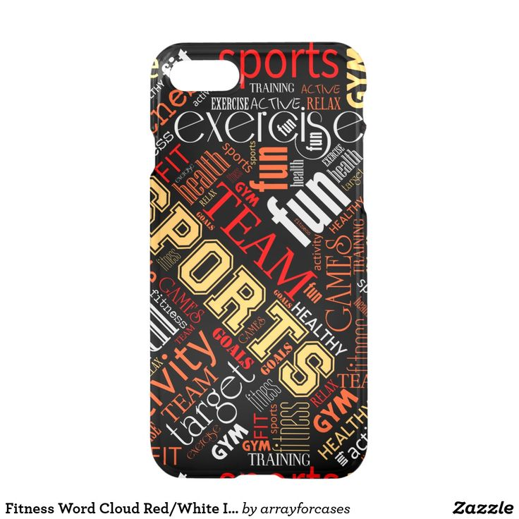 Fitness Word Cloud Red/White  iPhone Case Totally into fitness? This cool product with a word cloud design says it all. Some of the words used are: health, fitness, sports, exercise, goals, training, lifestyle. This version features warm shades of red, golden yellow and white for any darker colored background. Search ID284 to see additional color options and matching products with this design.