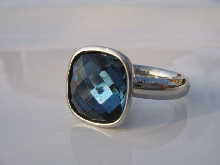 Qudo Ring Estella montana blue * Edelstahl *