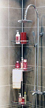 WOLTU BZ4105-1 Étagère de douche de tige télescopique,étagère de salle de bain,Hauteur 120-250 cm,3 étagères perméables à l'eau,1 porte-serviettes,Blanc chrome