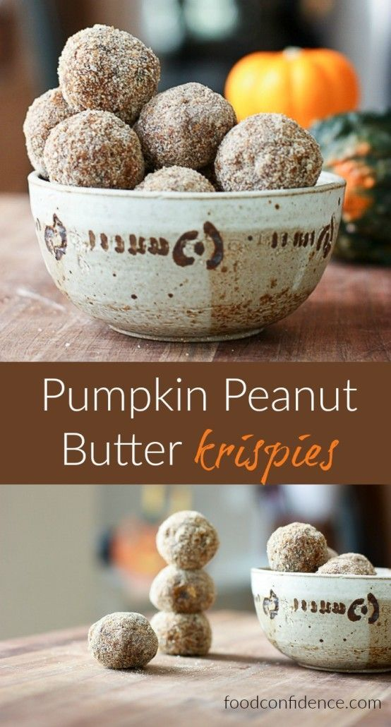 No-Bake Pumpkin Peanut Butter Krispies. Perfect mid-day snack recipe, easy to make and rivals anything you can buy! Healthy treat!