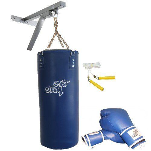 GAT POWER BWP2bl Boxset blau mit Wandmontage Paket: 150 cm Boxsack, Boxhandschuhe, Springseil und Boxsackhalterung von GAT POWER.