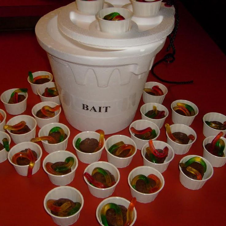 Mini Bait cups. Dirt and worms. Mini brownies from Sam's Club, 2 gummy worms, small white sauce cups and a white Styrofoam bait bucket. Cute decoration for fish fry or kids fun.