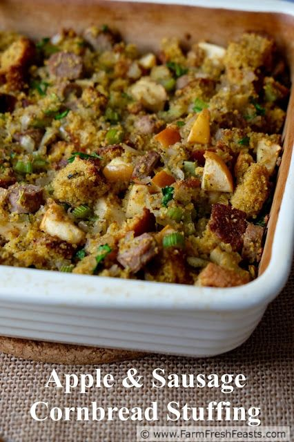 Apple and Sausage Cornbread Stuffing--a gluten free side dish with chunks of apples and turkey sausage in a cornbread dressing base.