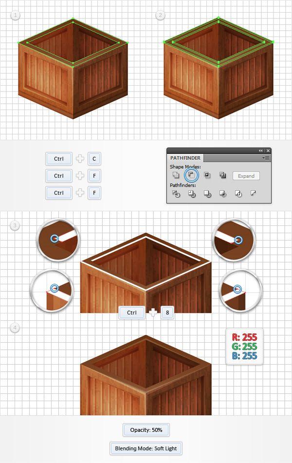 Create a wooden box in adobe illustrator