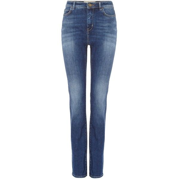 Max Mara VELO 101 fit high rise Jean ($155) ❤ liked on Polyvore featuring jeans, ultramarine, women, high waisted blue jeans, highwaist jeans, blue jeans, high rise jeans and high-waisted jeans