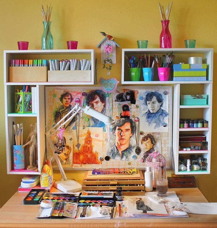 Colourful art studio ideas - love all the bright colour here (and Benedict of course!)