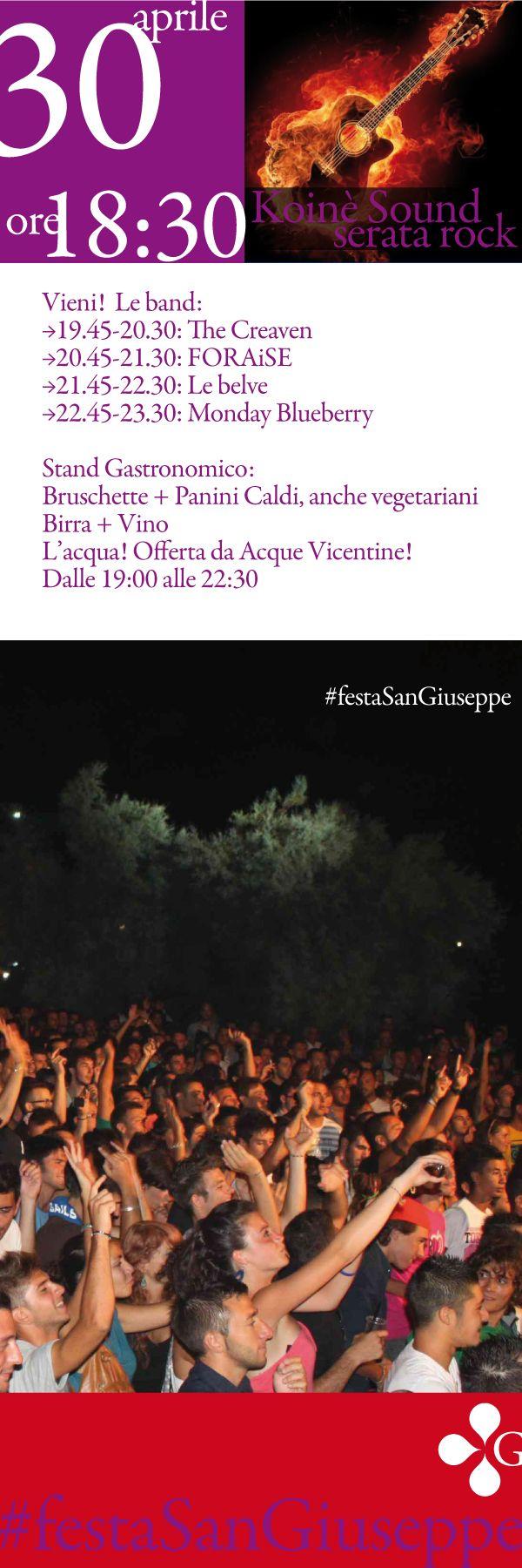Vieni stasera a serata Rock #festaSanGiuseppe Vicenza. Koinè Sound.... e si mangia! Bruschette, Panini Caldi, anche vegetariani. fb.me/3IYOoIk2m