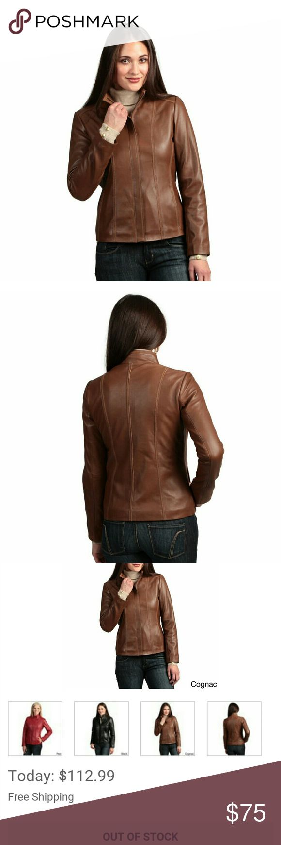 NWOT Genuine lambskin leather jacket cognac color Nwot, never worn.  Paid $125 when I got it b4 it sold out on Overstock for $113.  Perfect condition. Soft buttery leather, the color is cognac, which is a beautiful luggage brown ike color.  Please let me know if u want more pics. Price firm unless bundled. colletzione Jackets & Coats