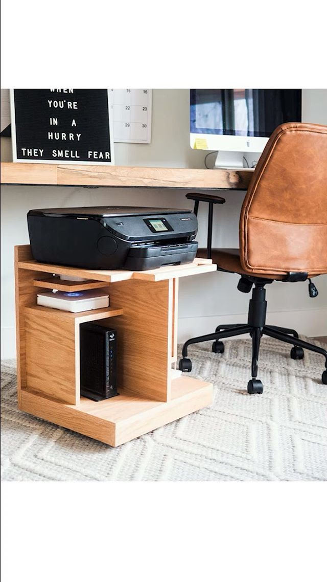 The Under Desk Mobile Printer Stand Is Hands Down One Of The Most Useful Things I Ve Ever Made Herringbone Backsplash Printer Stand Modern Tv Wall Units