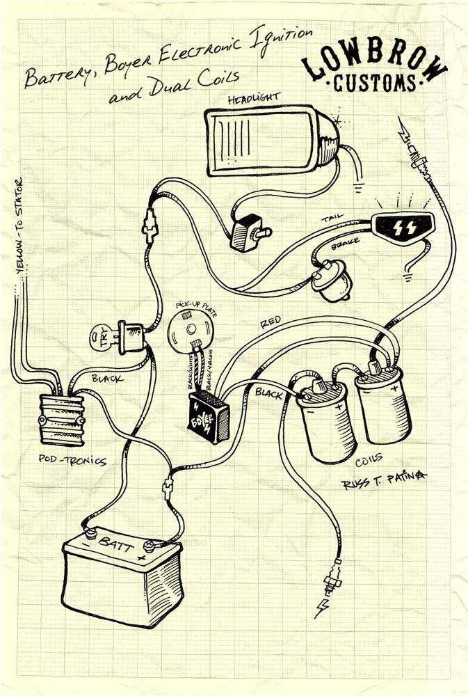 lowbrow customs motorcycle wiring diagram boyer electronic ignition and dual coils