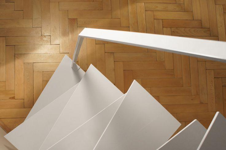 Detail of white steel handrail