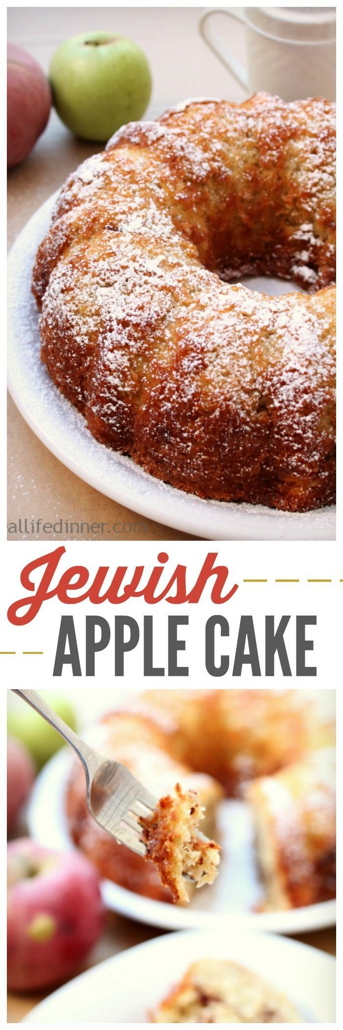 This Jewish Apple Cake Recipe is the most delicious Apple cake you will ever have. Grated Apples, Cinnamon baked in a bundt pan. Incredibly moist. ~ http://reallifedinner.com