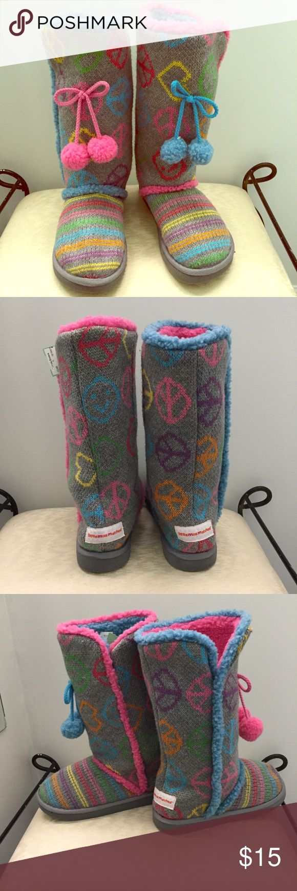 Little Miss Matched Knit Boots / Slippers These boots and/or slippers are in excellent condition. They match, but they don't! Size women's 8. So warm and comfy. Can be worn as a slipper or boot as is has a solid sole. Very clean with no major flaws. Smoke free home. Little Miss Matched Shoes