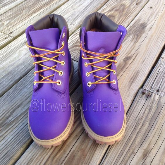 Purple Timberland Boots Womens' Sizes by FlowerSourDiesel on Etsy