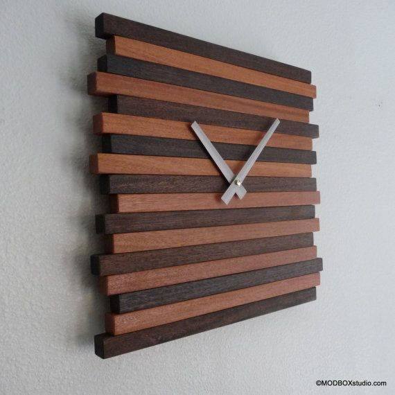 Clock Wall Hanging Reclaimed Wood Modern Decor by MODBOX on Etsy, $94.00