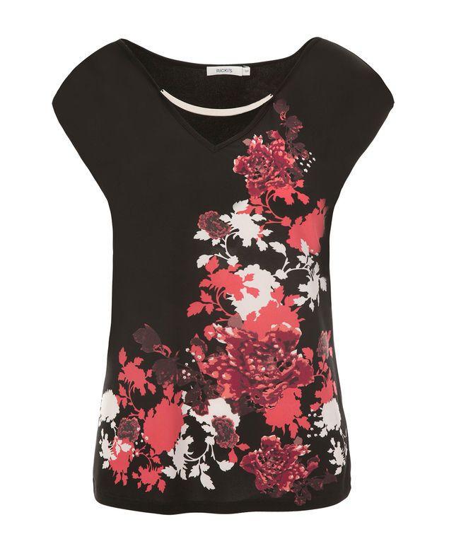 V-Neck Hardware Top, Black/Coral Print #loverickis #rickisfashion #rickis #instantoutfit #instantOOTD #spring #spring2017 #springfashion