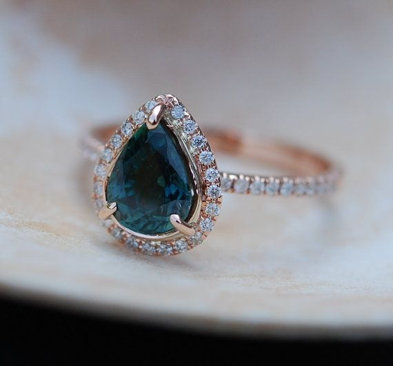 Rose Gold Engagement Ring Peacock Blue Green Sapphire pear cut halo engagement ring 14k rose gold.