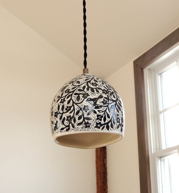 Black and White Porcelain Pendant Hanging by SueCanizaresCeramics