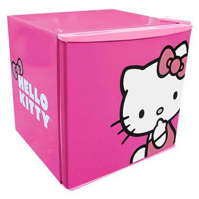 """""""Chillin"""" stuff in your Hello Kitty Compact Refrigerator - Pink (1.8 CuFt)."""