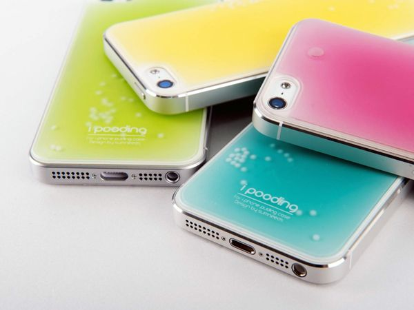 Soft as Puddin'  In a world full of rigid, ultra-thin cases, the iPooding case stands out as a squishy, playful alternative for those in touch with their softer side. For enhanced ergonomics and shock absorbance, the clear urethane case is filled with harmless liquid paraffin. For a little flair, each colorful case is filled with floating dots that whirl around like a snow-globe. Ain't it cute?!