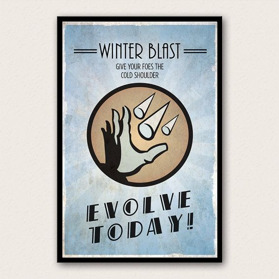 Bioshock Inspired Plasmid Poster  Winter Blast by WestGraphics, $18.00