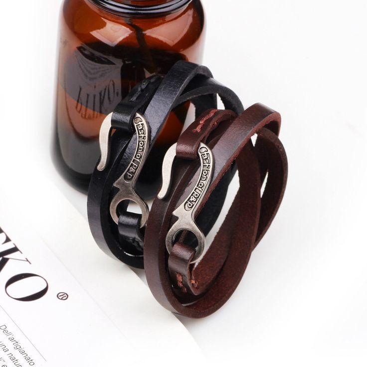 Retro Leather Multilayers Adjustable Fashion Men Bracelet