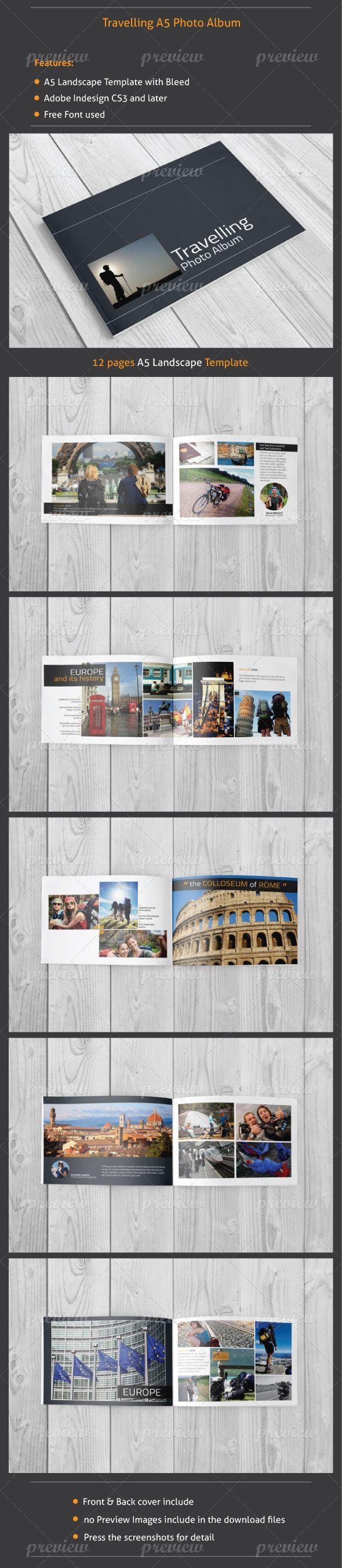 12 Pages Traveling Photo Album including front and back cover (suitable for a company, agency, non-profit, school, etc.) Size: A5 (5.83x8.27 inches) - (148x210 mm) landscape with bleed Worked in:...