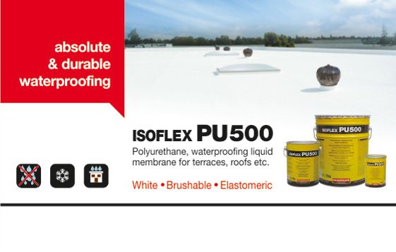 Save money and protect your building from moisture with the high quality and durable waterproofing solution for flat roofs.  ISOFLEX-PU 500 is a one component polyurethane, waterproofing liquid membrane that has excellent mechanical, chemical, thermal, UV and weather resistance.  It is ideal for waterproofing of flat roofs and balconies, while its fields of application include kitchens, bathrooms, construction works such as highways, bridge decks and tunnels.