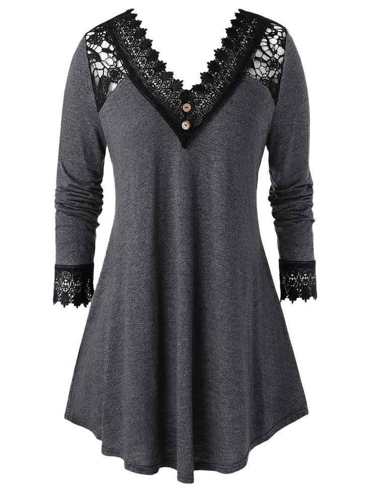 Plus Size Crochet Panel A Line Long Sleeve Tunic Tee , #sponsored, #Panel, #Line, #Size, #Crochet, #Tunic #affiliate
