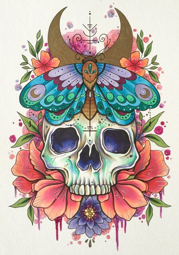 Skull tattoo print, tattoo design, day of the dead art, watercolor painting, gothic home decor, alternative art, tattoo design, moth print  – Art