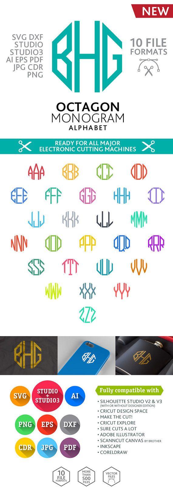 Octagon Monogram Font Alphabet (SVG DXF EPS Studio Studio3 Png Pdf Jpg Ai Cdr) digital cut files for Silhouette Studio, Cricut, Cameo