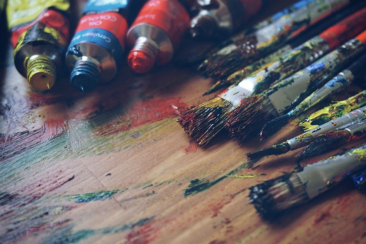 Creative Commons stock photo of Oil paints, brushes and art palette on the wooden for blog, template, commercial free.