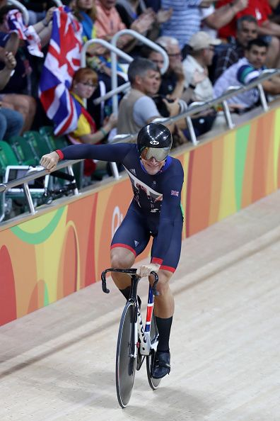 Callum Skinner of Great Britain reacts after competing in the Men's Sprint…