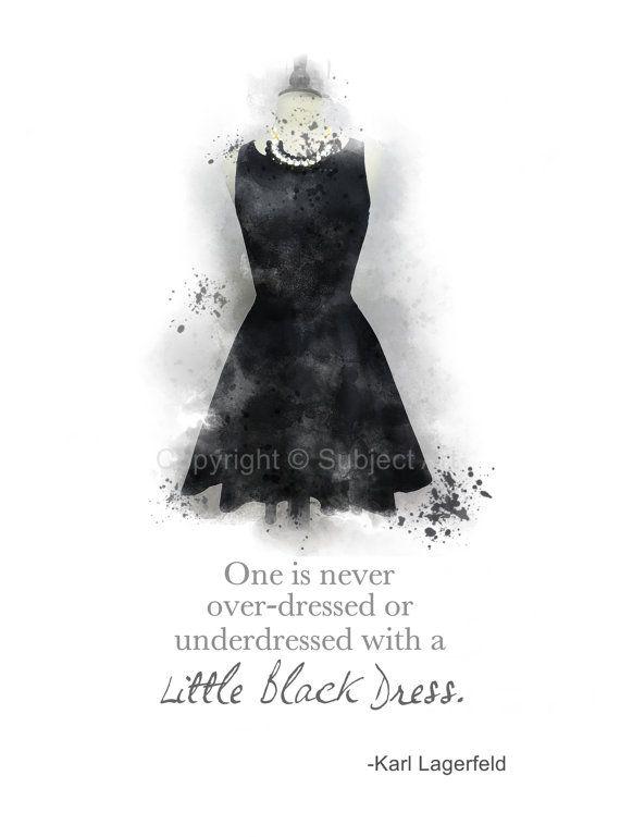 Little Black Dress Karl Lagerfeld Quote Art Print 10 Por Subjectart