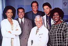 Diagnosis: Murder-  starring Dick Van Dyke as Dr. Mark Sloan, a medical doctor who solves crimes with the help of his son, a homicide detective played by his real-life son Barry Van Dyke.