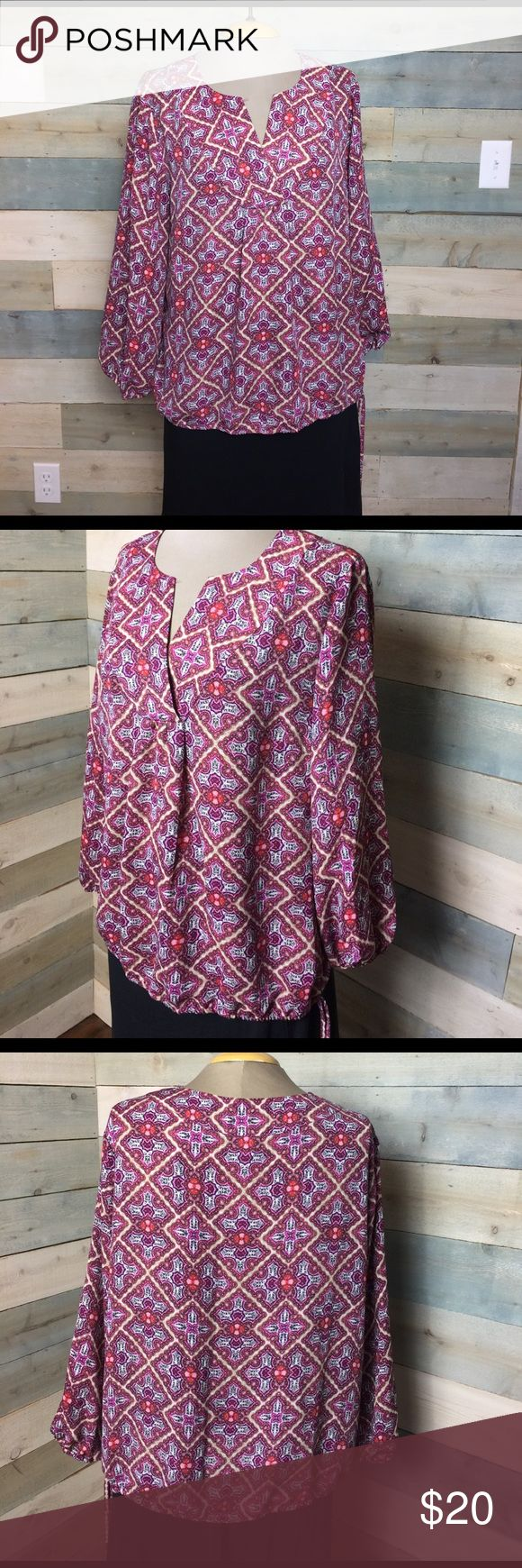 Boho Peasant Blouse laundry Shelli Segal L Pink Mass listing, will add details shortly Laundry by Shelli Segal Tops Blouses