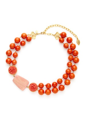 Lovely Coral! David Aubrey Chunky Coral Bead & Carved Floral Bead Double Strand Necklace.